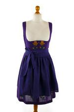 Vintage Dirndl Purple Embroidered Pattern Apron Austria Bodice Balconette 42