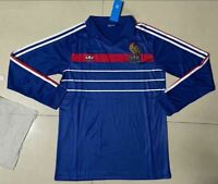 1984-1986 France Home Long Sleeve Retro Soccer Jersey
