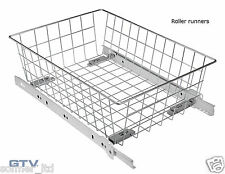 GTV Wardrobe Storage Organiser MD Pull out Wire Basket with Roller Runners