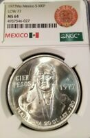 1977 MEXICO SILVER 100 PESOS S100P LOW 77 VARIETY NGC MS 64 BRIGHT FROSTY BU