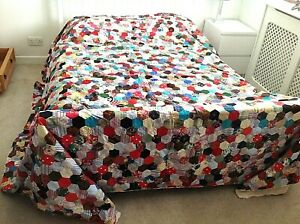 Victorian style very large vintage patchwork quilt hand made
