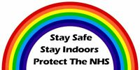 RAINBOW STAY SAFE INDOORS PROTECT THE NHS IRON ON T SHIRT TRANSFER LARGE A4 SIZE