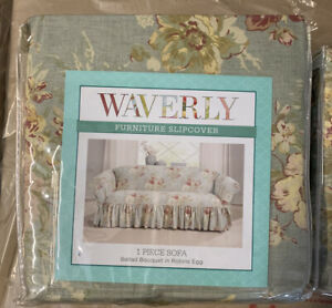 """Waverly Sofa Cover Ballad Bouquet In Robins Egg Fits 74"""" To 96"""" New"""