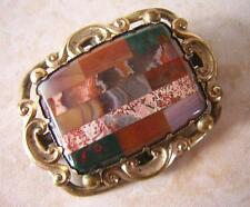 OUTSTANDING ANTIQUE VICTORIAN SCOTTISH AGATE MOSAIC BROOCH PIN - HARD STONES