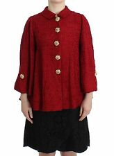 NWT $3000 DOLCE & GABBANA Red Woven Silk Jacket Coat A-Line Crystal IT38/US4