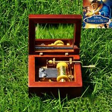 Antique Red Wood Hand Crank Mirror Music Box : Beauty And The Beast Theme Song