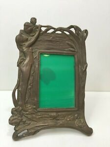 Vintage Handcrafted Decorative Crafts Brass Photo Frame with Nude Sculpture