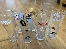 Bundle of 7 glasses Beers, Cider Inc Cobra, Kingfisher, Strong bow, Hop house 13