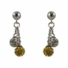 4mm Champagne White Crystal Balls Sterling Silver Kids Dangle Earrings