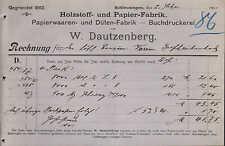 SCHLEUSINGEN, Rechnung 1901, Holzstoff- und Papier-Fabrik W. Dautzenberg
