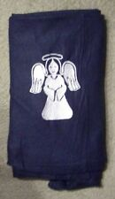 BLANKET - BLUE FLEECE THROW WITH EMBROIDERED WHITE ANGEL 33 X 48