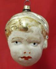 Vintage 1920's Boy's Head in a Nightcap Flesh Face Glass Ornament