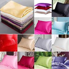 New Summer Silk Satin Soft Pillow Cases Queen Standard Comfort Solid Protector