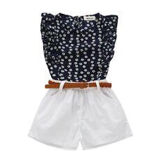 Baby Girl Kid Toddler Flower T-shirt +Shorts Skirts Outfits Sleeveless Tops