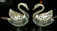 Pair Swan Salt Cellar and Spoons Glass Silver Plate Hinged Wings Italy Vintage