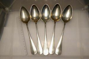 antik 5 Esslöffel Metall Alpacca versilbert W F N ungereinigt zus. 242,6 g
