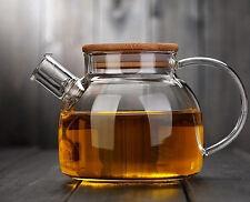 RELEA Clear Glass Heat Resistant Tea Pot 750ml Tea Coffee Maker With Bamboo Lid eBay