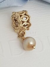 Authentic Pandora 14ct Gold 14k Peach Pink Pearl Lace Dangle Charm 750807PGO