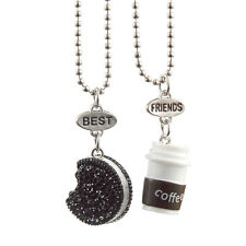 New 2PCS Women Fashion Cute Oreo Biscuits&Coffee Best Friends Pendant Necklace
