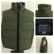 Ralph Lauren Polo Sport Down Feather Vest Mens XL Green Full Zip Nylon Shell