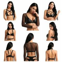 Women Sexy Lingerie Faux Leather Cross Bandeau Crop Tank Top Bra Bralette Shirts
