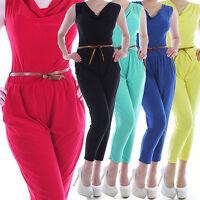 Damen Overall Jumpsuit Hosenanzug Business Einteiler Bandeau Dress Wassefall K34