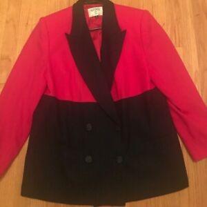 KASPER II Vintage Color Block Double Breast Blue & Pink Blazer Sz 14