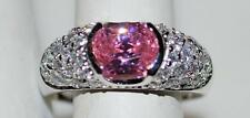 925 STERLING SILVER PINK & CLEAR CZ CUBIC ZIRCONIA BAND RING 6.2 GR SIZE 10 RT7