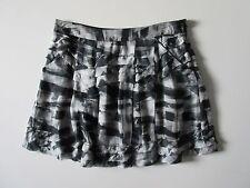 NWT Theory Mashita in Black Cubist Plaid 100% Silk Chiffon Tiered Skirt 10 $295