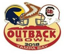 Official 2018 Outback Bowl Pin Michigan Wolverines vs South Carolina Gamecocks