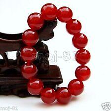 Natural 12mm Dark Red Jade Round Gemstone Beads Stretchy Bangle Bracelet 7.5''
