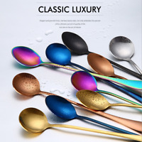 1x Stainless Steel Rainbow Long Handle Latte Glass Ice Cream Sundae Coffee Spoon