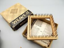 """Vtg Donar Products Weave-It Small Loom Box + Instructions 4"""" x 4"""" Wood"""