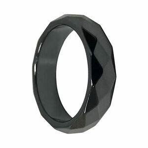 Faceted 6mm Simulated Magnetic Hematite Wedding Band Ring