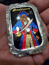 "Collab CMG Mint & BL Studio Art Silver Bar ""BLACKBEARD"" 2.88 oz .999 U.K. Enamel"
