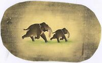 Indian Old Paper Painting Wild Scene Elephant Watercolor Painted Decor Painting