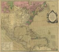 A4 Reimpresión de Británico Colonias Imperio Mapa Norte USA