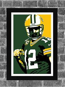 Green Bay Packers Aaron C. Rodgers Portrait Sports Print Art 11x17