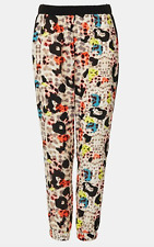 Topshop Coloured leapord print Silky Trousers - UK 6