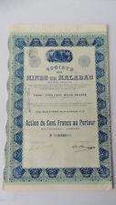 Société des Mines de Malabau-Action de Cent Francs au Porteur-1912