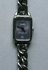 Coach 14502771 Ladies Watch With Gunmetal Chain & Black Leather Breclet
