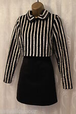 ASOS Stripe Sequin Embellished Long Sleeve Collar Crop Top Party Dress  8 36