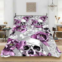 Skull Flower Quilt Doona Duvet Cover Set Single/Double/Queen/King Bed Linen