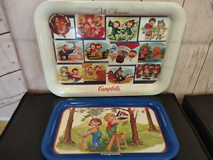 Two 1997 Campbell's Soup metal food serving trays All Seasons & Campbell's Kids