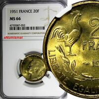 FRANCE Aluminum-Bronze 1951 20 Francs NGC MS66 TOP GRADED BY NGC  KM# 917.1