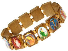 Paquete de 3x Madera Elástico religiones Temática Brazaletes En Ligero Marrón