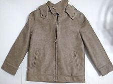 Girls Coat Fleece Interior Faux Leather Wash Full Zippered Detachable Hood Sz 7