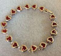 "GB Red garnet heart silver/white gold gf bracelet 7.25"" / 18.5mm BOXED Plum UK"