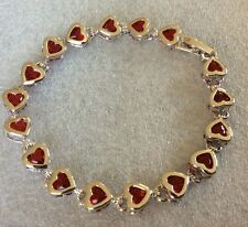 "GB Red garnet heart silver/white gold gf bracelet 7.25"" / 18.5mm BOXED Plum UK"