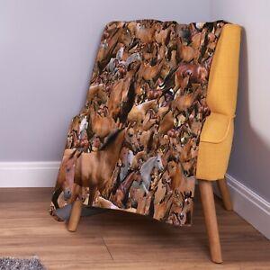 Horses All Over Design Soft Fleece Throw Blanket